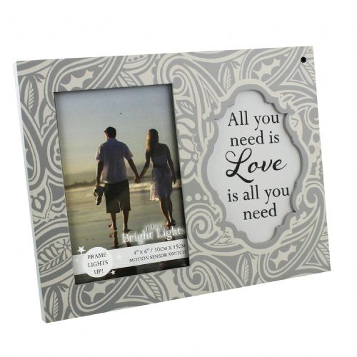 'All You Need Is Love' Light Up Photo Frame For Valentines, Weddings, Anniversary and Engagement Gift